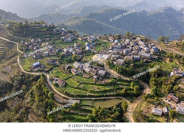 Nepal, Gandaki zone, Pokhara, Armala village lying on the south of the Annapurnas mountains (aerial view)