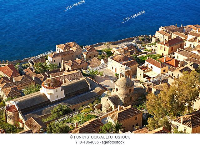 Arial view of Monemvasia             Byzantine Island catsle town with acropolis on the plateau  Peloponnese, Greece