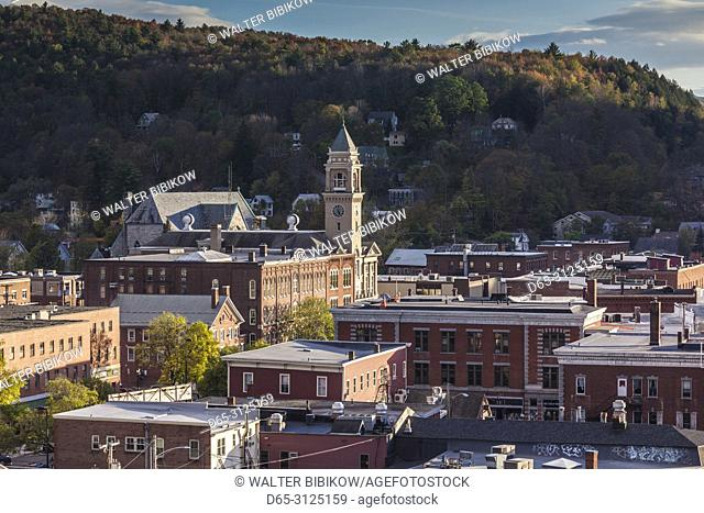 USA, New England, Vermont, Montpelier, elevated town view, sunset