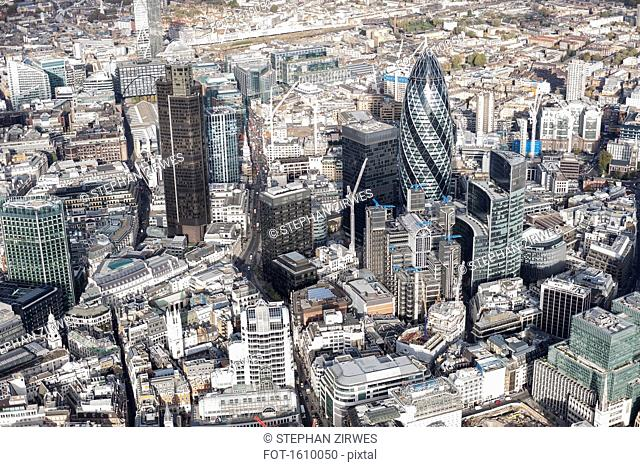 Aerial view of financial district and city, London, England, UK