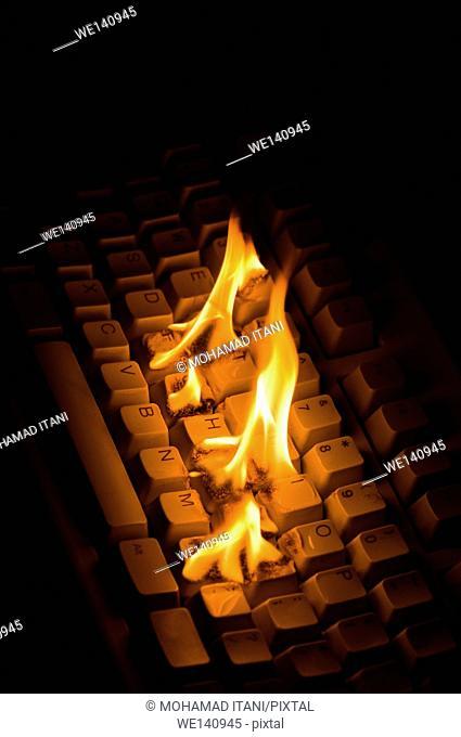 Computer Keyboard burning indoors