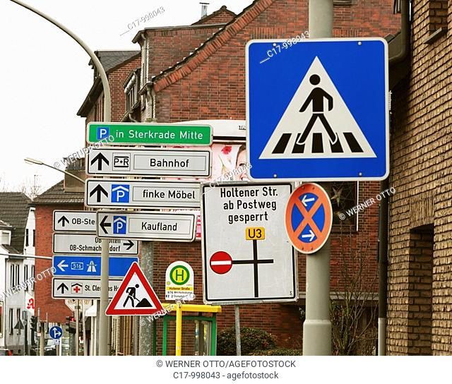 transport, traffic, road traffic, traffic signs, forest of traffic signs, driving direction, direction of travel, building site, construction site, bus stop