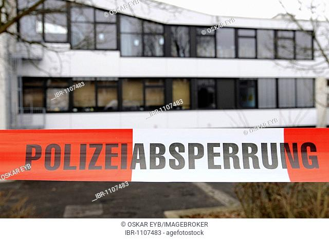 Rampage at Albertville Realschule school, the day after, police cordon, Winnenden, Baden-Wuerttemberg, Germany, Europe
