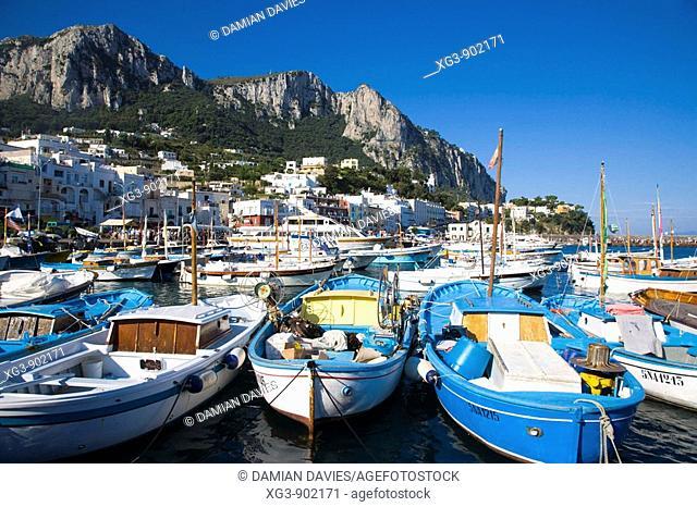 Boats in harbour at Marina Grande, Capri, Italy