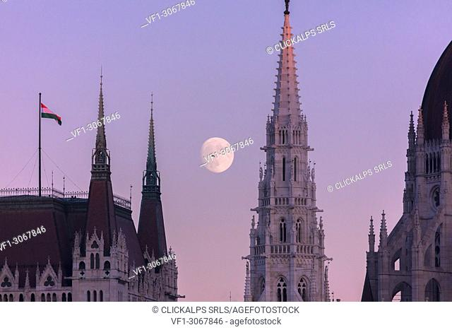 Full moon on the Parliament Building, Budapest, Hungary