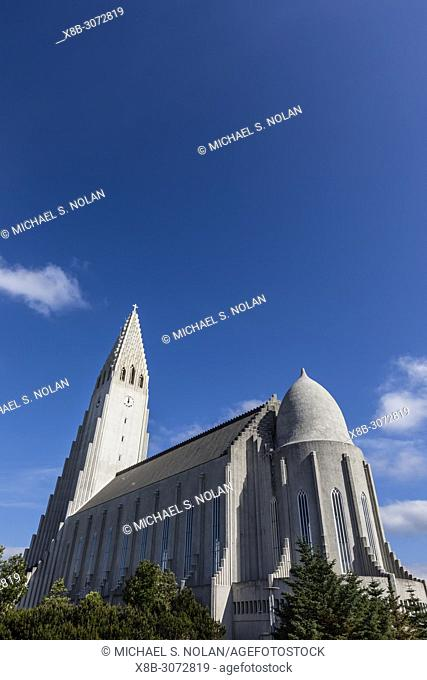 Exterior view of Hallgrímskirkja, the largest Lutheran church in Reykjavík, Iceland