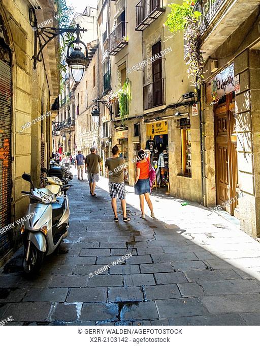 Typical side street just off Las Rambla in Barcelona, Spain