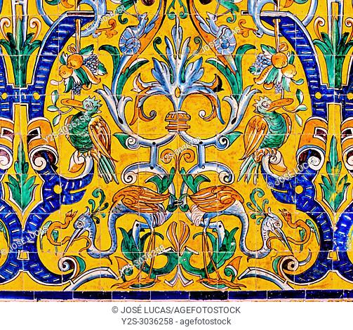 Glazed tiles 16th century, Gothic palace, Reales Alcazares, Seville, Region of Andalusia, Spain, Europe