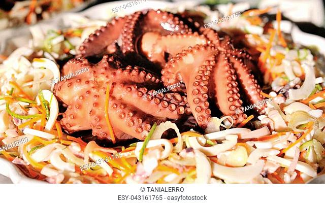Healthy octopus in a fresh sea salad
