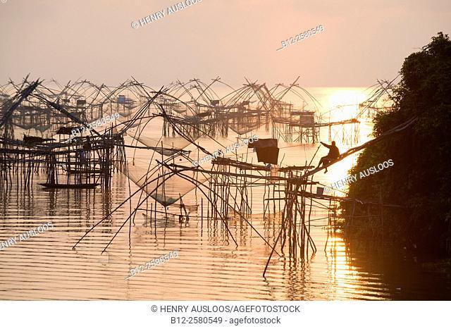 Shore-operated lift net at sunrise, Phatthalung, Thailand