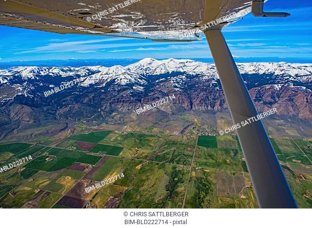 Aerial view of airplane wing over Cedarville, California, United States