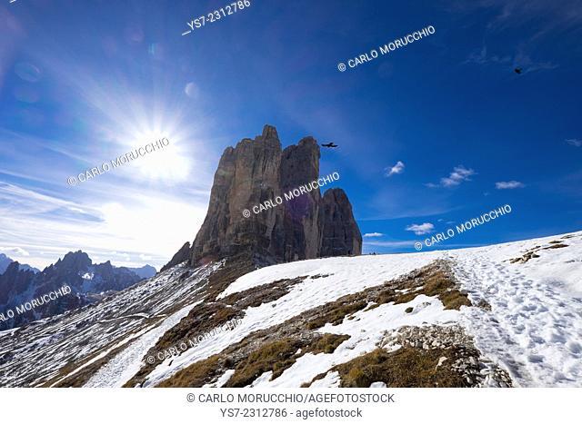 Tre Cime di Lavaredo and the trail around them, Auronzo, Belluno, Italy, Europe