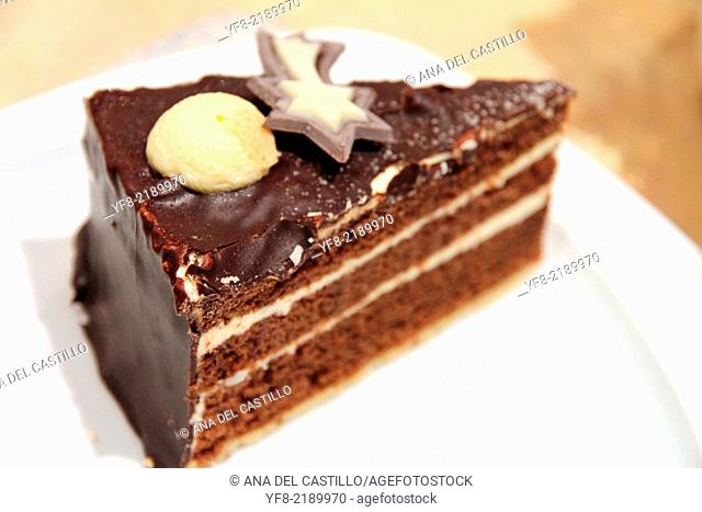 Chocolate tart on plate