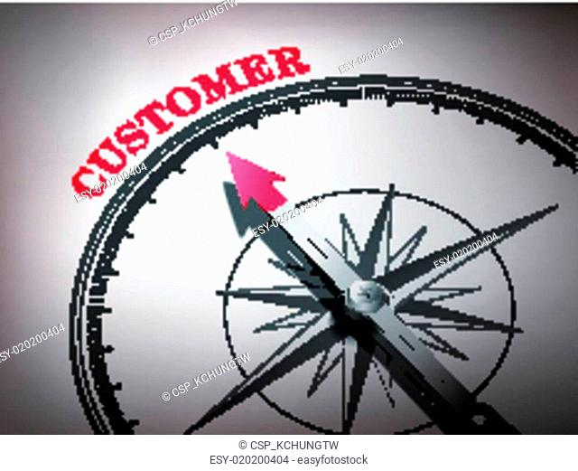 abstract compass with needle pointing the word customer