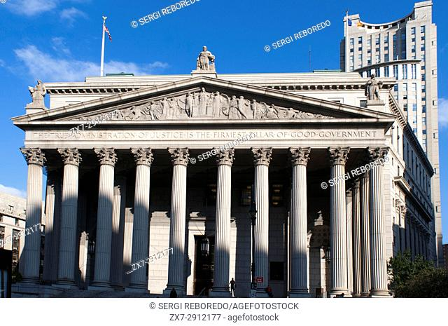 "New York State Supreme Court building in Lower Manhattan showing the words """"The True Administration of Justice"""" on its facade in Manhattan, New York, USA"