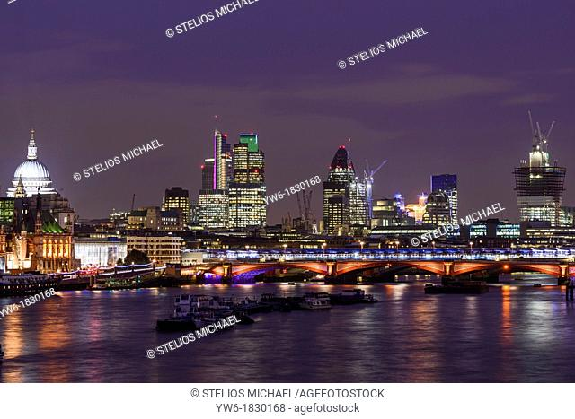 View of the City of London and the River Thames from Waterloo Bridge, London, England, UK