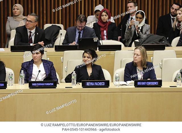 United Nations, New York, USA, April 09 2018 - Reyna Pacheco, Maria Toorpakai and Big East Conference During UNODC Special Event on Crime Prevention and...