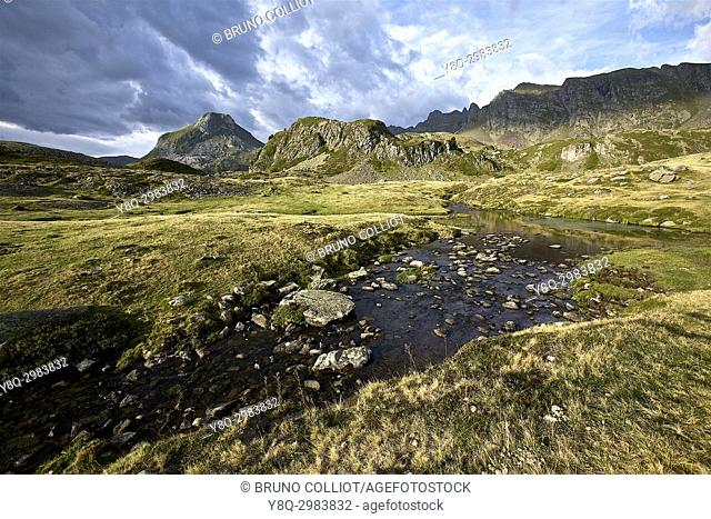 view of the GR10 torrent from the lakes of Ayous, near the Ayous refuge. valley of ossau