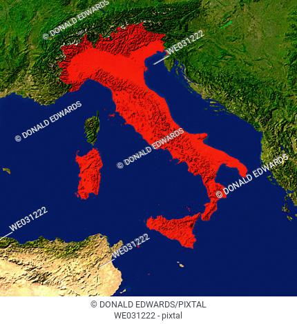 Highlighted satellite image of Italy