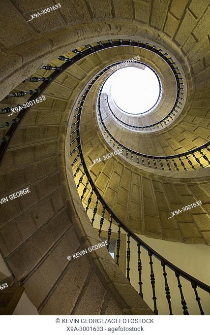 Illuminated Spiral Staircase, Galician Peoples Museum, Santiago de Compostela, Galicia, Spain