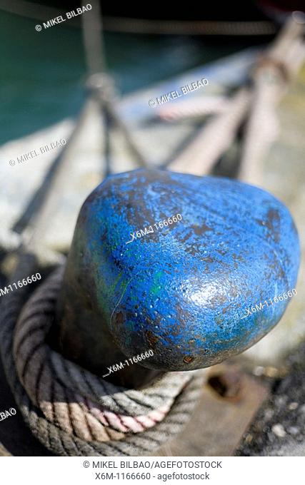 a mooring bollard in a port  Santoña, Cantabria, Spain, Europe