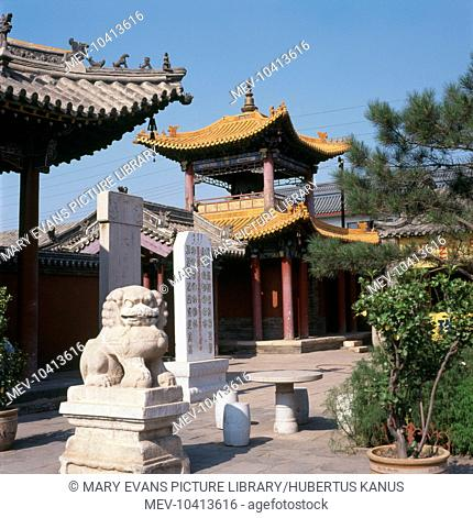 Part of the Da Zhao Temple (meaning Infinite Temple), a Buddhist monastery at Hohhot, Inner Mongolia, in the People's Republic of China
