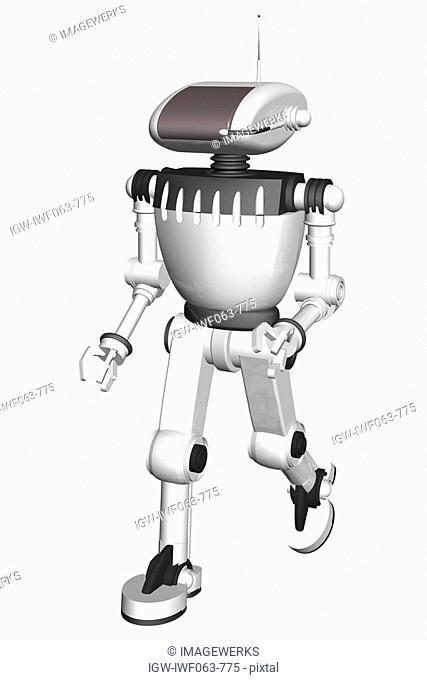 Robot walking against white background