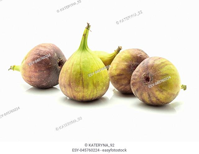 Five figs set isolated on white background fresh ripe purple green