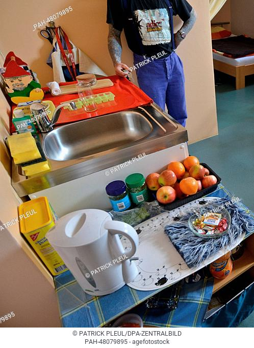 An inmate is pictured in his living area at the preventive detention section of prison JVA Brandenburg in Brandenbrug and der Havel, Germany, 22 April 2014