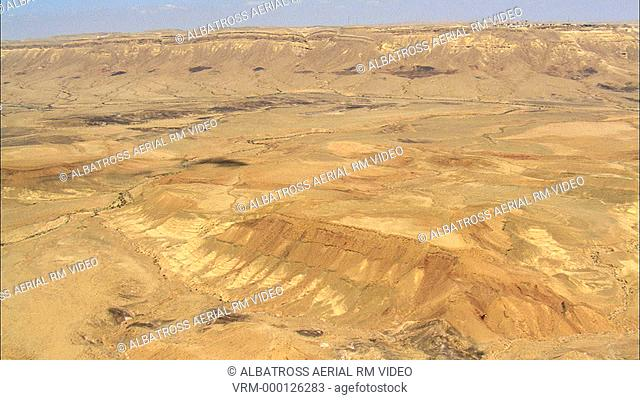 Aerial footage of Ramon Crater , the Negev Desert