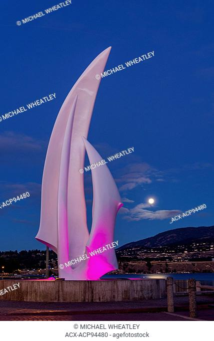 Sculpture called 'Spirit of Sail' by artist Robert Dow Reid, Kelowna, Okanagan Valley, British Columbia, Canada