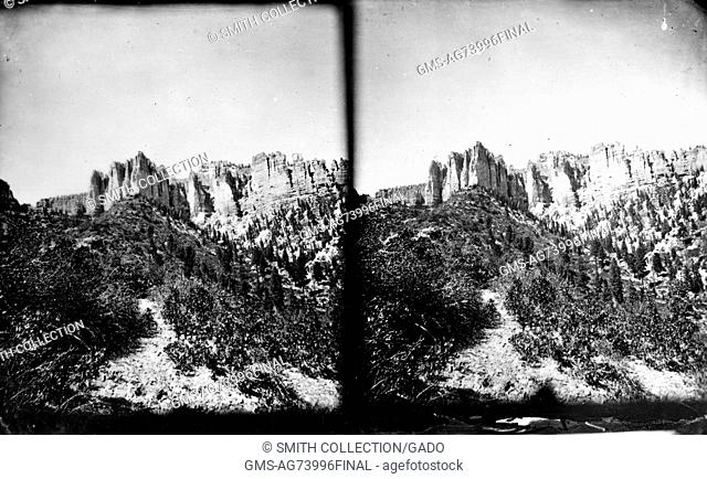 Stereograph of the Pink Cliffs and surrounding landscape, Kane County, Utah, 1875. Image courtesy USGS