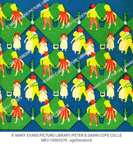 Step and repeat pattern with a nursery rhyme motif from book cover. Artist: Anon