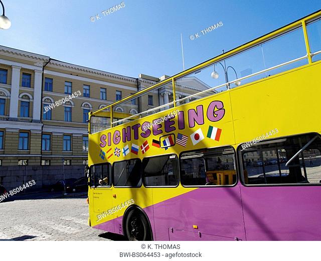 Helsinki, sightseeing bus on Senate Square, Finland, Helsinki