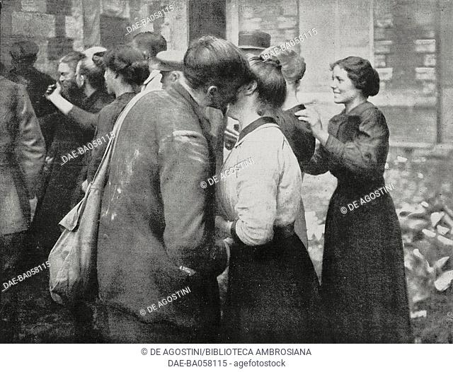 Three French young soldiers meet in Arras, France, people from their village, Ecourt-Saint-Quentin, set free by the Canadian troops, Hundred Days Offensive