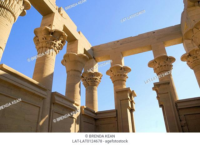 The temple to Isis and Osiris at Philae island was moved and reconstructed at the time of the building of the Aswan Dam. it is a UNESCO world heritage site