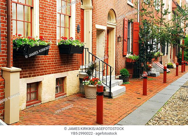 Historic brick homes bring a colonial elegance to Elfreth's Alley in Philadelphia