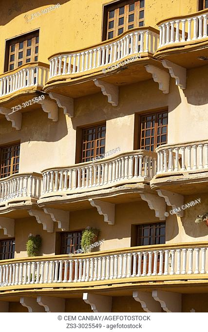 Balconies of a colonial building at Plaza De Los Coches Square at the historic center, Cartagena de Indias, Bolivar, Colombia, South America