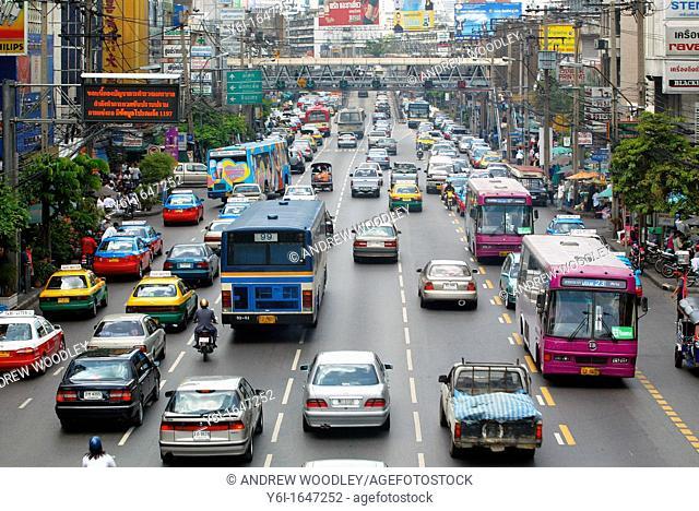 Traffic on Petchaburi Road Bangkok Thailand