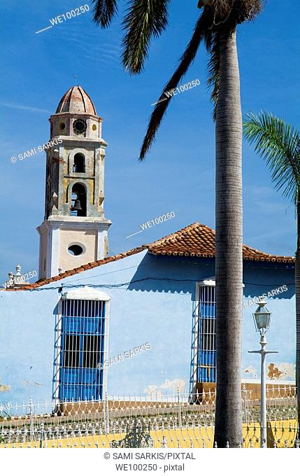 Plaza Mayor and the bell tower of the Convent of San Francisco, Trinidad, Sancti Spiritus, Cuba