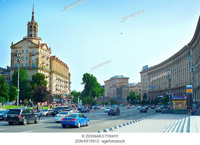KIEV, UKRAINE - JUN 17, 2016: Traffic on a road in city center of Kiev. Kiev is the capital of Ukraine
