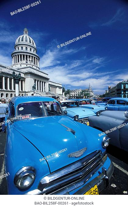 The Capitolio Nationwide in the Old Town of Havana in Cuba in the Caribbean