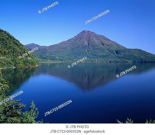 Blue sky Mountain lake surface Green Lake Shikotsu Mt  Eniwa Chitose Hokkaido Japan