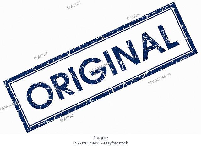 original blue square stamp