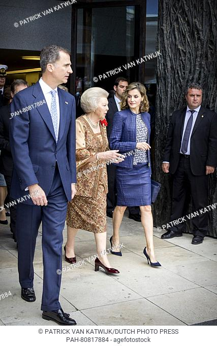 King Felipe and Queen Letizia of Spain and Princess Beatrix of The Netherlands at the opening of the exhibition 'Bosch, the 5th Centenary Exhibition- in the...