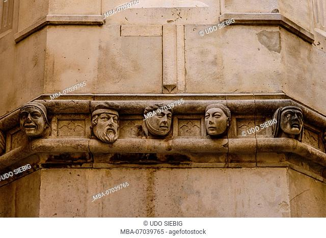 Croatia, Dalmatia, Sibenik, Old Town, Sveti Jakov Cathedral, frieze of portraits