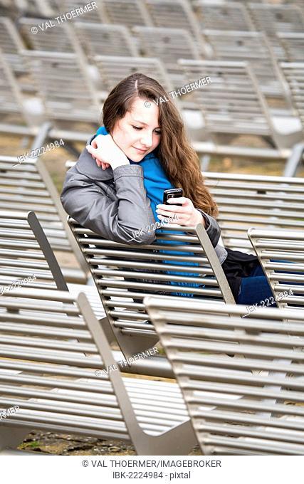 Teenage girl, 15 years, in an open-air theatre, Bad Staffelstein, Bavaria, Germany, Europe