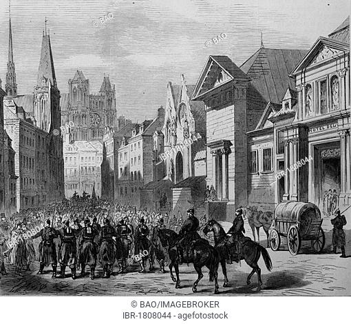 Invasion of the German troops after the Battle of Moreuil, Amiens, France, 28th November 1870, historical illustration, Illustrierte Kriegschronik 1870 - 1871...