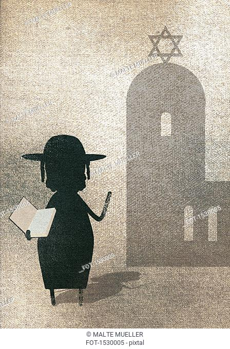 Illustration of woman showing Torah while standing outside synagogue