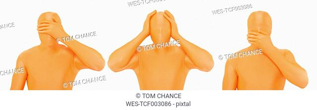 Men in orange zentai gesturing against white background